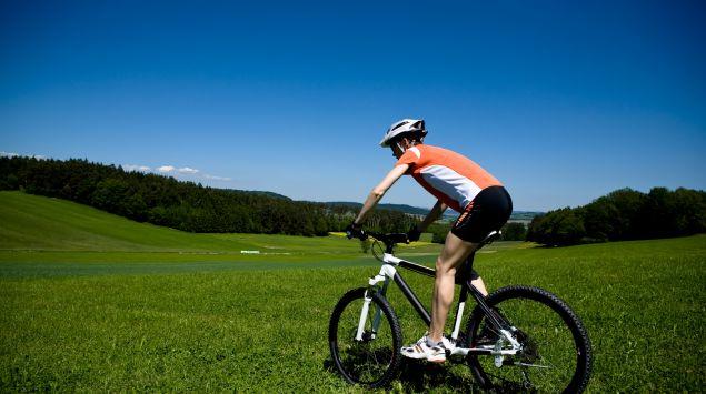 Man sieht einen Mountainbiker im Grünen.