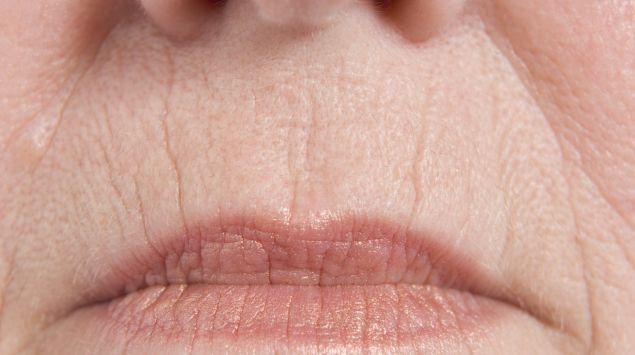 weiblicher Mund in Nahaufnahme mit perioralen Falten
