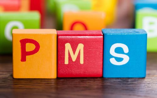 Bauklötze mit Buchstaben bilden das Wort PMS.