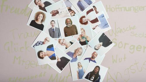 Verschiedene Fotos, auf denen unterschiedliche Menschen abgebildet sind.
