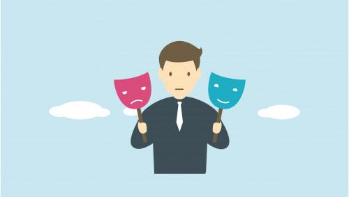 Illustration: Ein Mann hält eine traurig und eine fröhlich blickende Maske hoch.