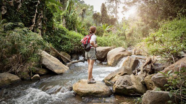 Eine Frau steht an einem Bach im Regenwald.