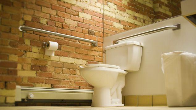 Das Bild zeigt eine Toilette vor einer Backsteinwand.