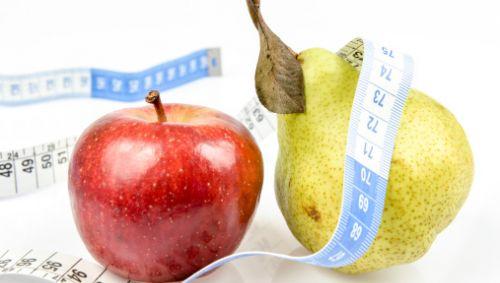 Das Bild zeigt einen Apfel, eine Birne und ein Maßband.