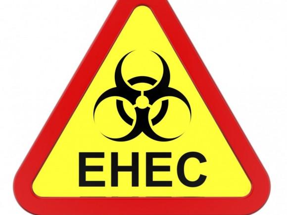 Man sieht ein Biohazard-Schild mit dem Schriftzug EHEC.