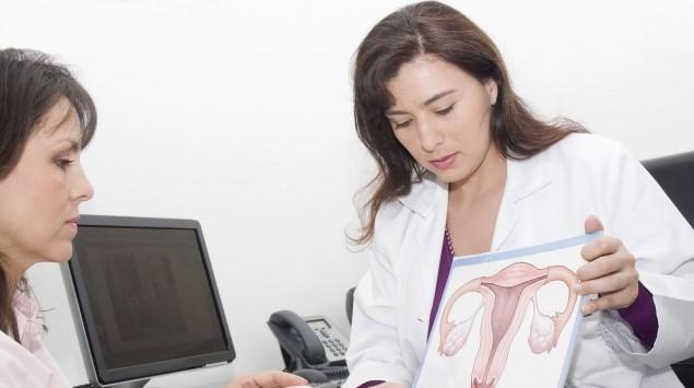 Eine Frauenärztin zeigt ihrer Patientin eine Abbildung der Eierstöcke.