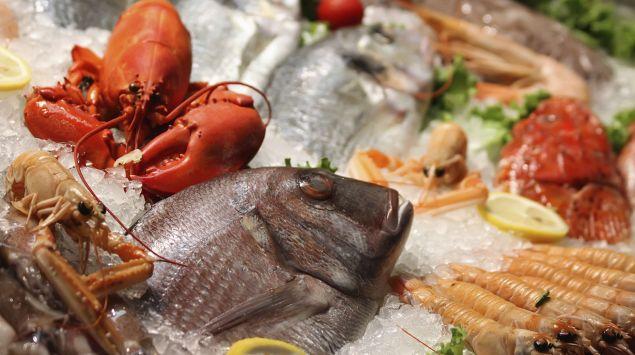Man sieht Fisch und Meeresfrüchte auf Eis.