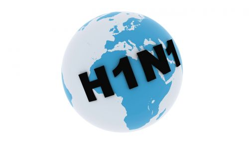 Man sieht einen Globus mit dem Schriftzug H1N1.