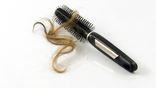 Das Bild zeigt eine Bürste mit einer Haarsträhne darin.