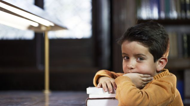 Das Bild zeigt einen Jungen mit Büchern.
