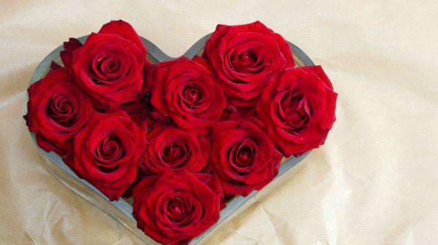 Das Bild zeigt ein Herz aus Rosen.