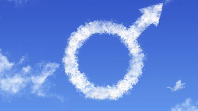 Das Bild zeit das Mars-Symbol,männlich-Zeichen aus Wolken im Himmel.