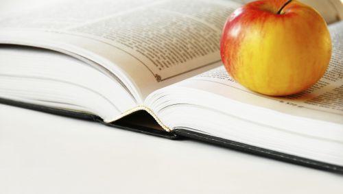 Das Bild zeigt ein offenes Buch mit einem Apfel.