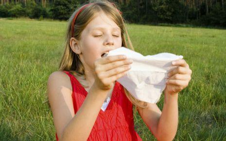Alternative Heilmethoden bei Heuschnupfen: Man sieht ein Mädchen auf einer Wiese, das in eine Taschentuch niest.
