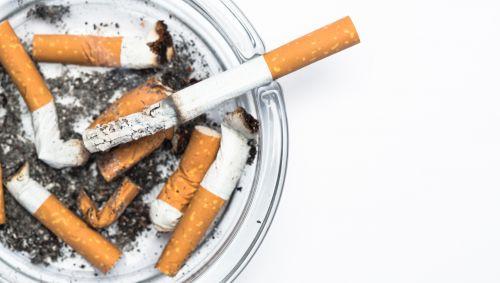 Das Bild zeigt eine Zigarette in einem Aschenbecher.