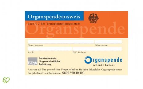 Vorderseite des Organspendeausweises