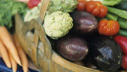 Das Bild zeigt einen Korb mit Gemüse.