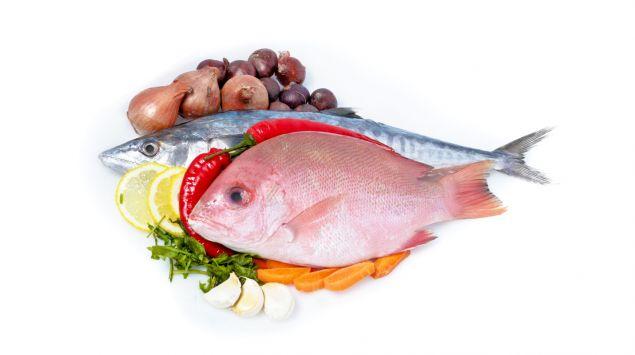 Man sieht zwei Fische auf Gemüse angerichtet.