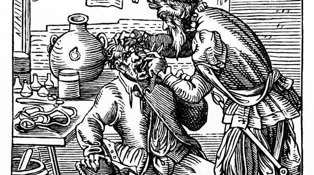 Das Bild zeigt eine Szene aus der medizinischen Vergangenheit.
