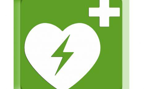 Dieses Rettungszeichen weist (gemäß in Deutschland geltender ISO- und DIN-Norm) auf den nächstgelegenen AED (automatisierter externer Defibrillator) hin.