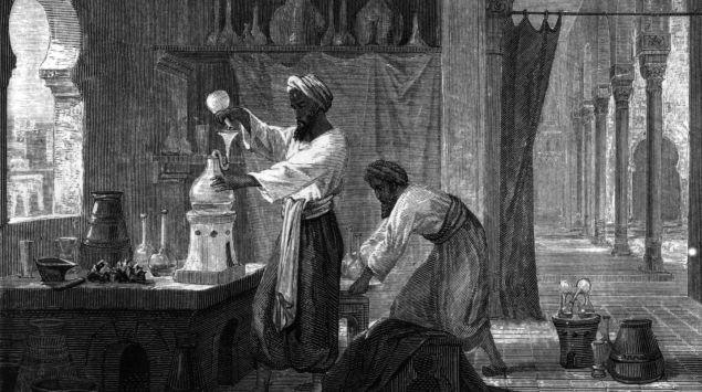 Al-Razi (Rhazes) in seinem Labor.
