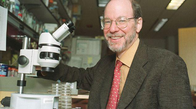 Professor H. Robert Horvitz sitzt in einem Institutsraum vor einem Mikroskop.