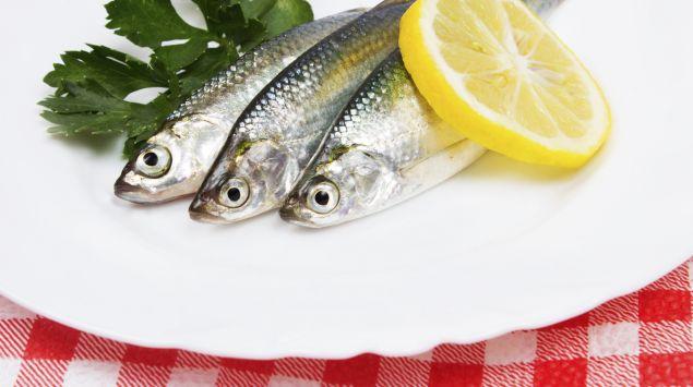 Sardinen auf einem Teller mit Petersilie und Zitrone