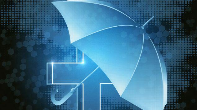 Illustration: Ein medizinisches Kreuz, das von einem Schirm geschützt wird.