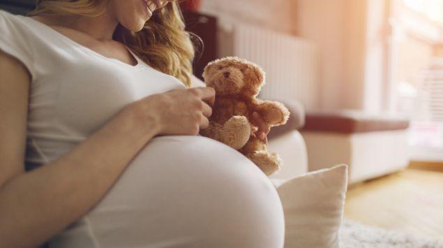 Das Bild zeigt eine Schwangere mit einem Teddy in der Hand.