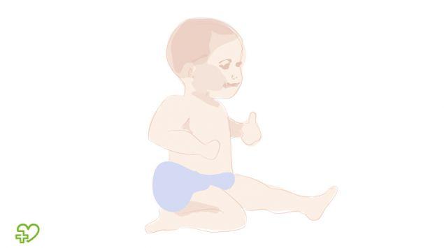 Grafik eines Babys, das im sitzen rutscht.