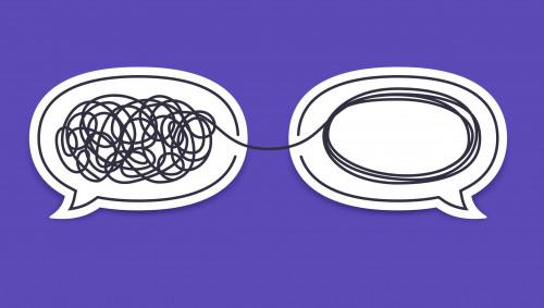 Illustration: Ein Knäuel in einer Sprechblase, der in einer zweiten Sprechblase entwirrt wurde.