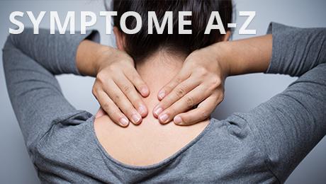 Das Bild mit der Aufschrift Symptome A-Z zeigt eine Frau, die ihren Nacken hält.