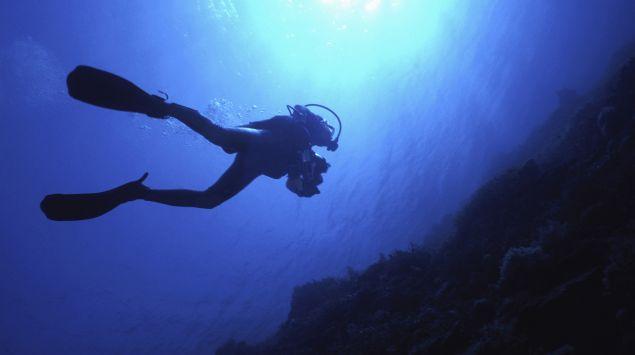 Ein Taucher unter Wasser.