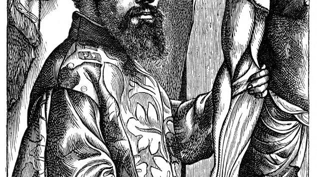 Man sieht eine Zeichnung von Andreas Vesalius.