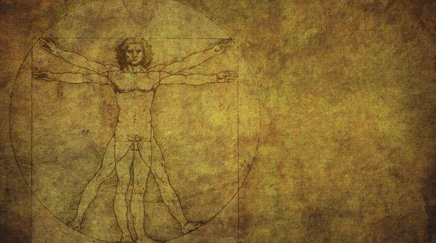 Man sieht eine vitruvianische Figur in der Darstellung von Leonardo da Vinci.