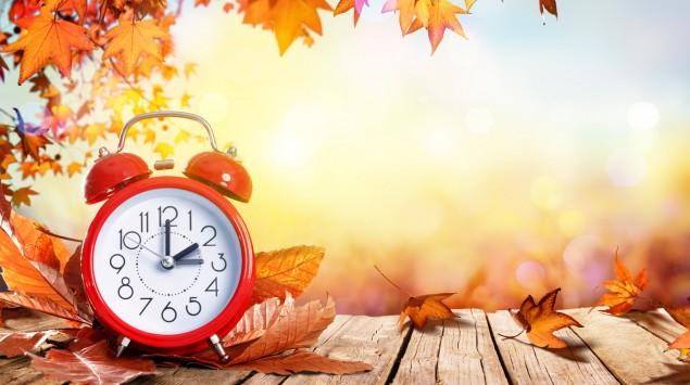Man sieht das eine Uhr und Herbstlaub.